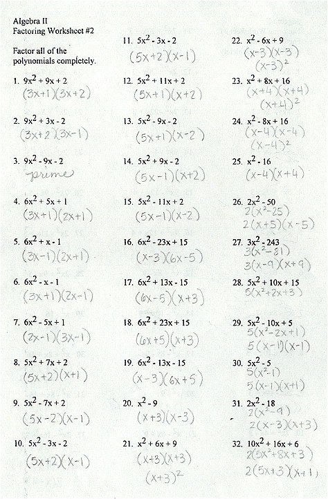 ... Worksheet With Answers on factoring polynomials worksheet answers