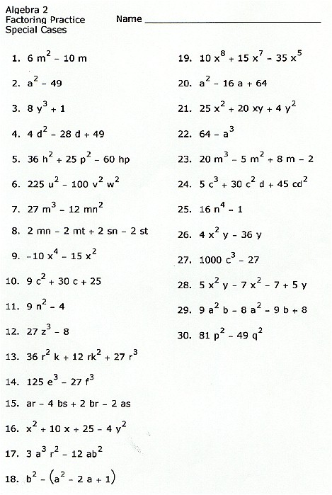 Factoring perfect squares worksheet kuta