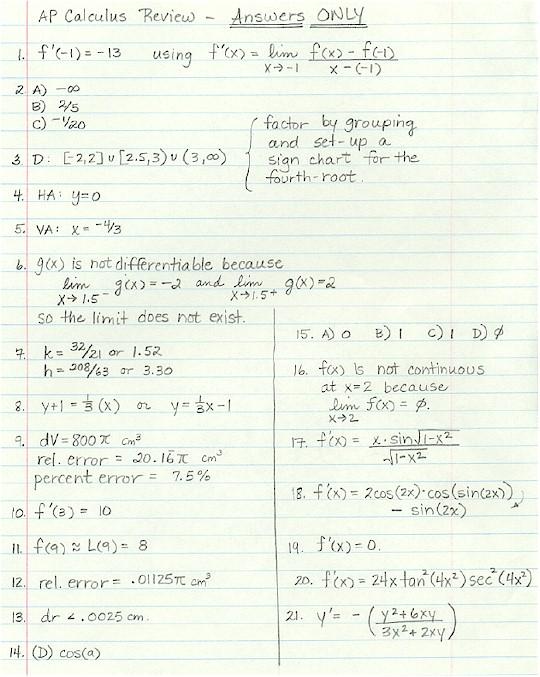 AP Calculus AB Notes   AP Practice Exams