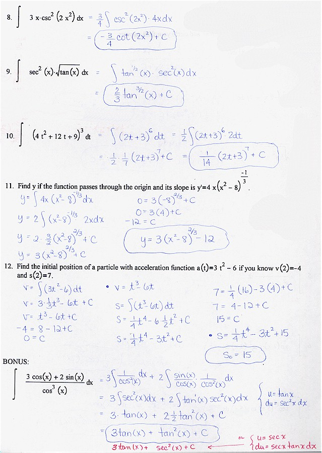 integration practice problems and solutions pdf